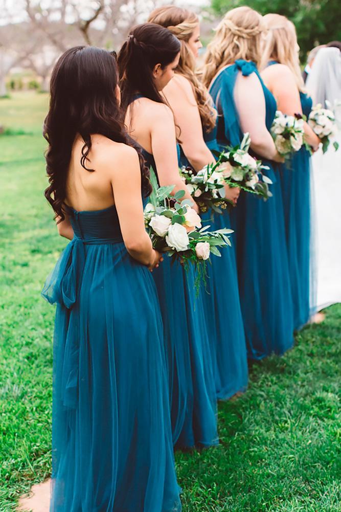 teal bridesmaid dresses long open back dark anna delores