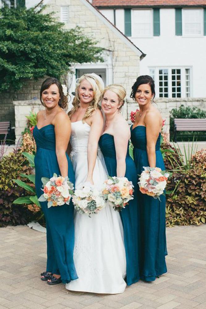 teal bridesmaid dresses long strapless dark chrystl roberge photography
