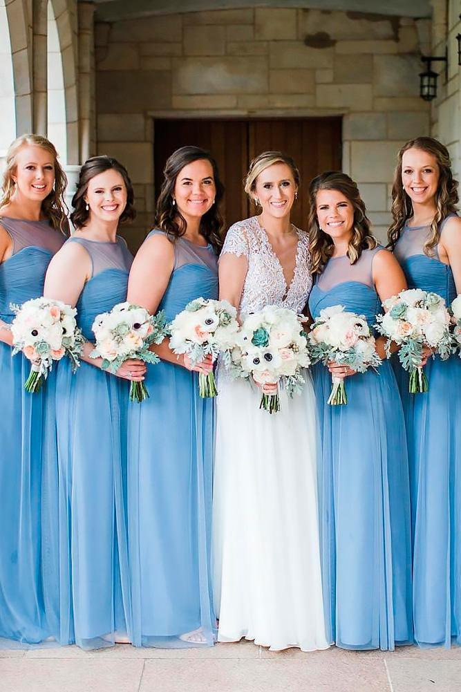 teal bridesmaid dresses pastel illusion sweetheart floor length neckline aubrey marie