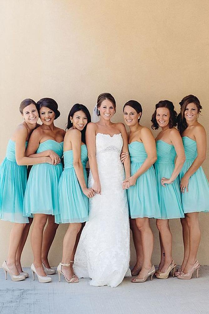 teal bridesmaid dresses short strapless jonathan ivy photo
