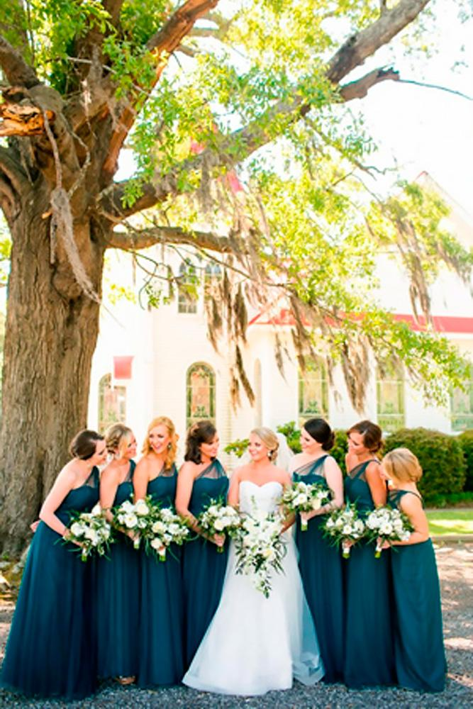 teal bridesmaids dresses long dark one shoulder courtney dox
