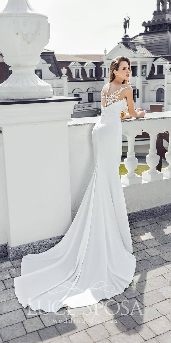 trumpet backless sleeveless illusion back lace luce sposa wedding dresses 2018
