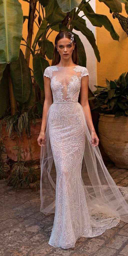 vintage wedding dresses sheath lace illusion neckline with caps sleeves berta