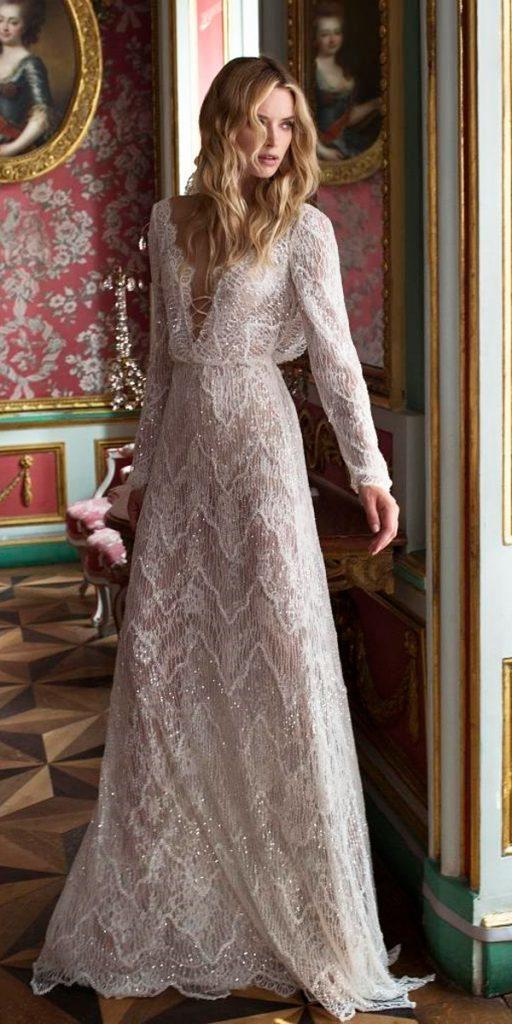 vintage wedding dresses straight v neckline with lace long sleeves lian rokman