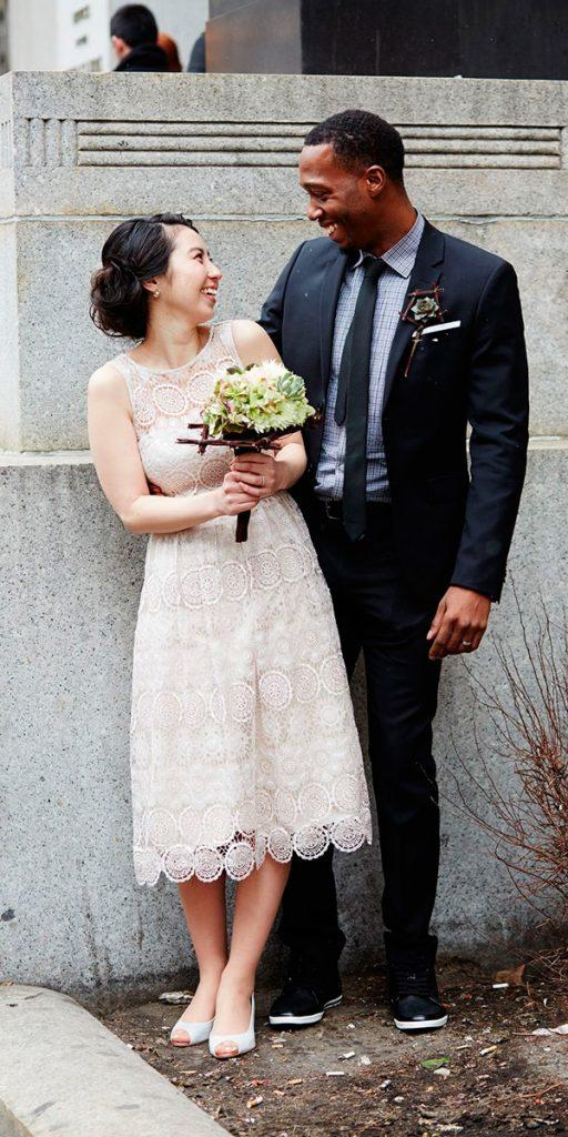vintage wedding dresses tea length lace bateau neckline sleeveless lauren perlstein