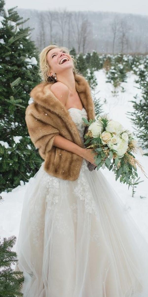 winter wedding dresses a line strapless with fur elizabet hanne designs
