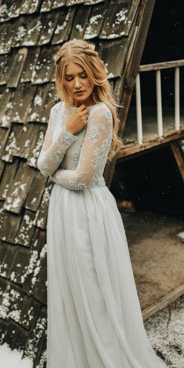 winter wedding dresses a line with illusion long sleeves lace top jnoelle design