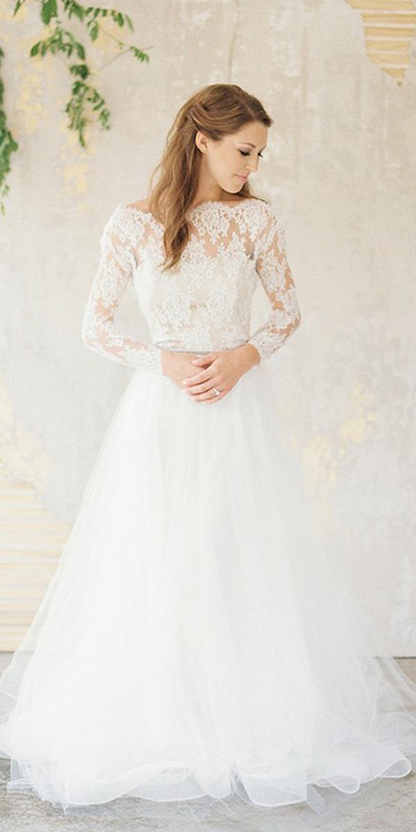 winter wedding dresses a line with sleeves lace top vintage chaviano couture