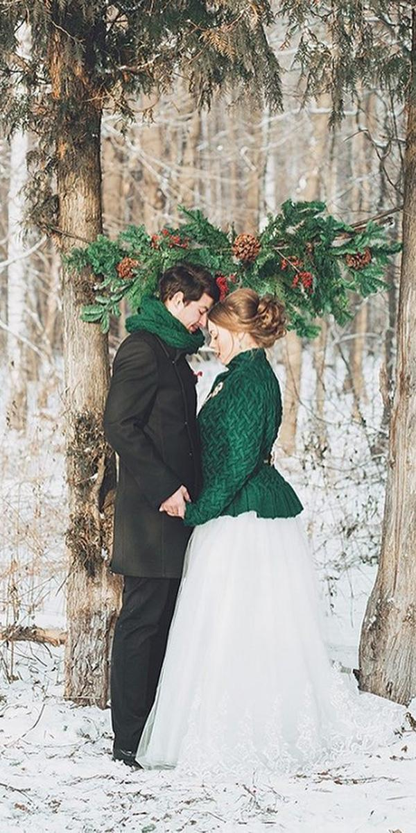 winter wedding dresses ball gown with gren cozy coat fab mood palette