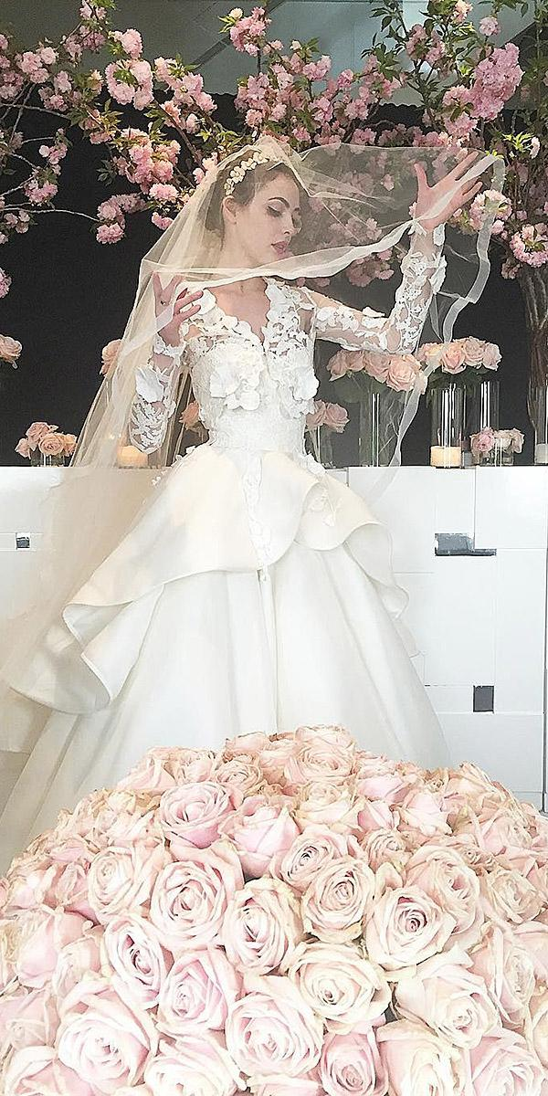 winter wedding dresses ball gown with long sleeves floral embellishment sareh nouri