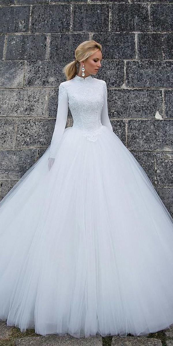 winter wedding dresses ball gown with long sleeves high neck simple oksana mukha