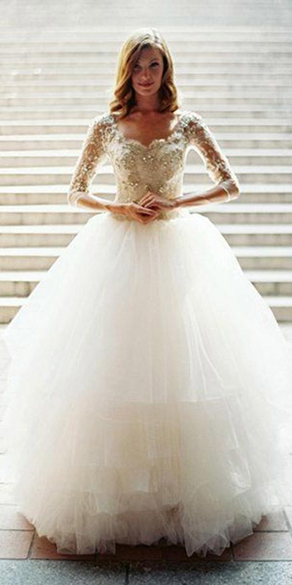 winter wedding dresses ball gown with sleeves beaded tulle skirt laura gordon photography