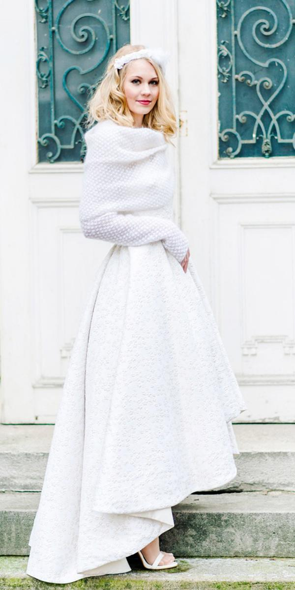 winter wedding dresses high low with cozy coat long sleeves caterina hoffmann photography