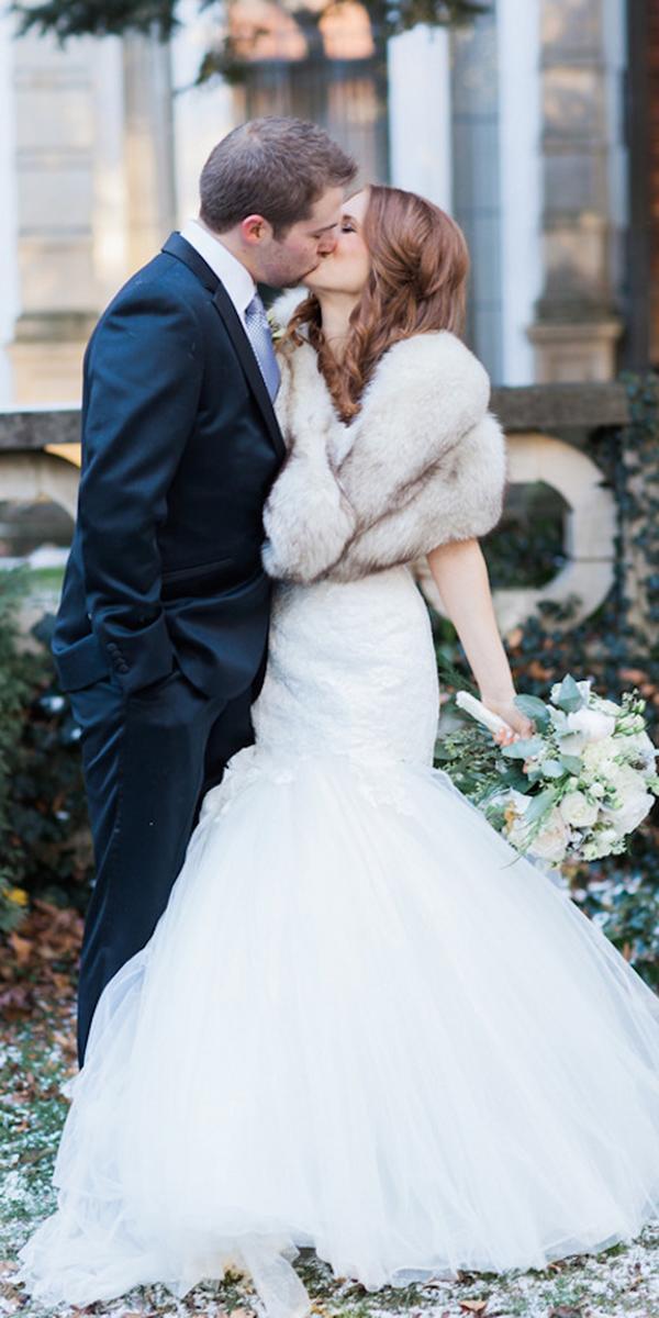winter wedding dresses mermaid with fur jon hartman photography