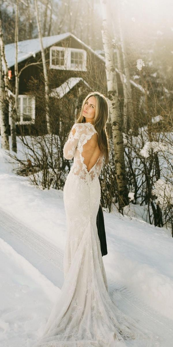 winter wedding dresses open back with long sleeves full lace ines disanto