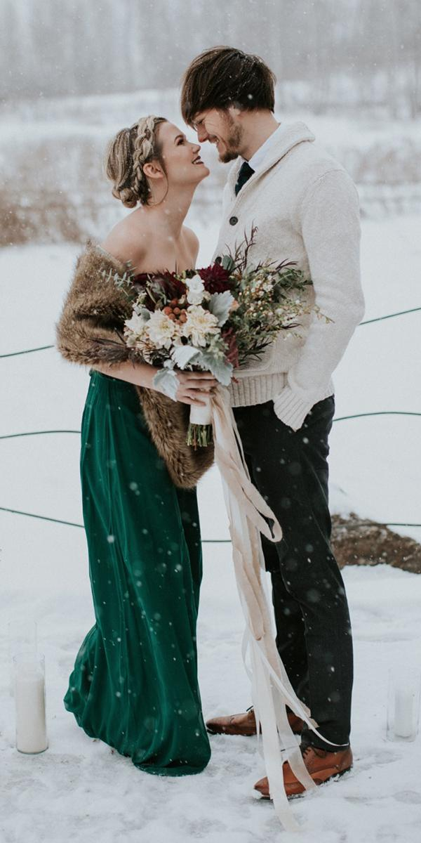 winter wedding dresses sheath green with fur