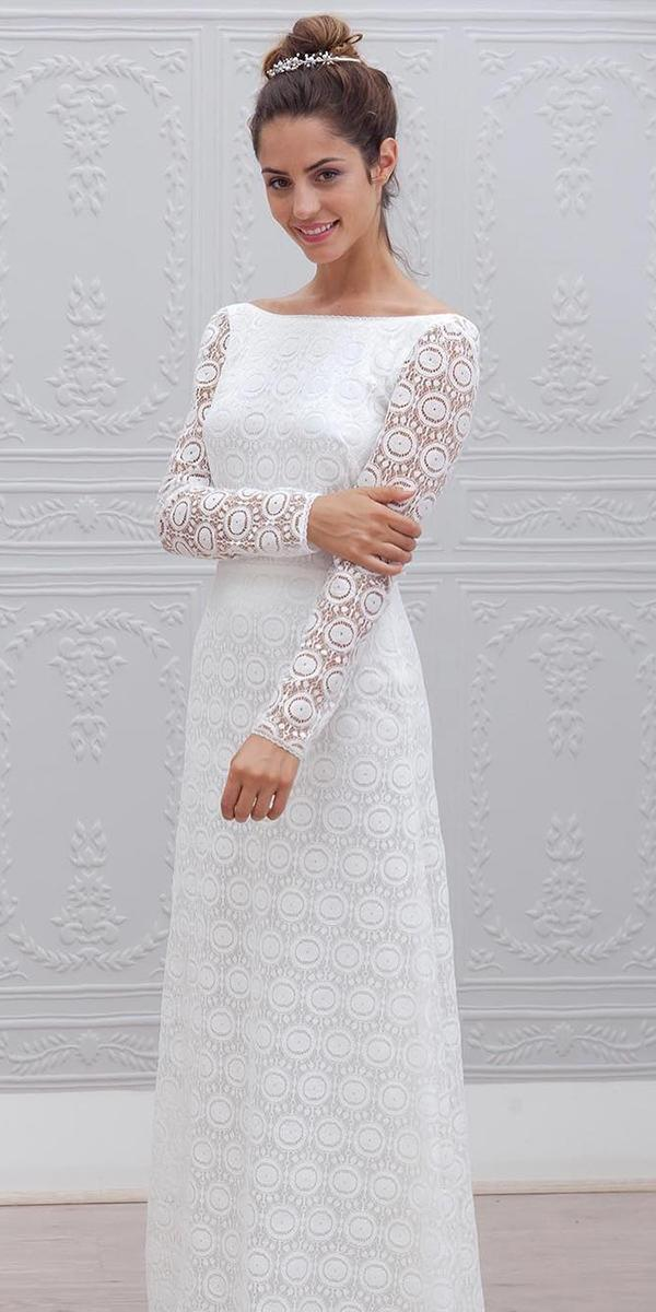 winter wedding dresses sheath with long sleeves lace marie laporte