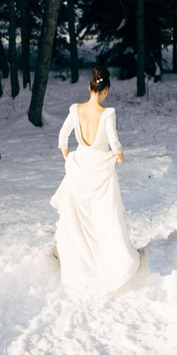 winter wedding dresses v back with sleeves elegant simple marie laporte