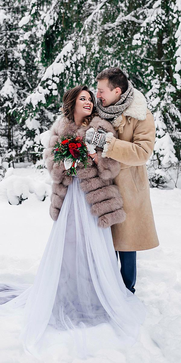 winter wedding dresses with fur blue skirt chiffon petrova wedding photo