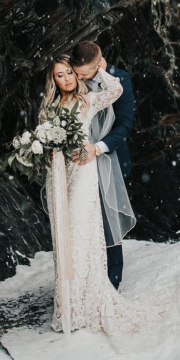 21 impeccable winter wedding dresses wedding dresses guide for Lace wedding dress instagram