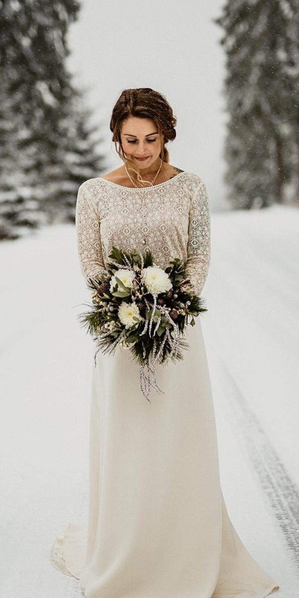winter wedding dresses with long sleeves lace top blush color lorelei feinekleider