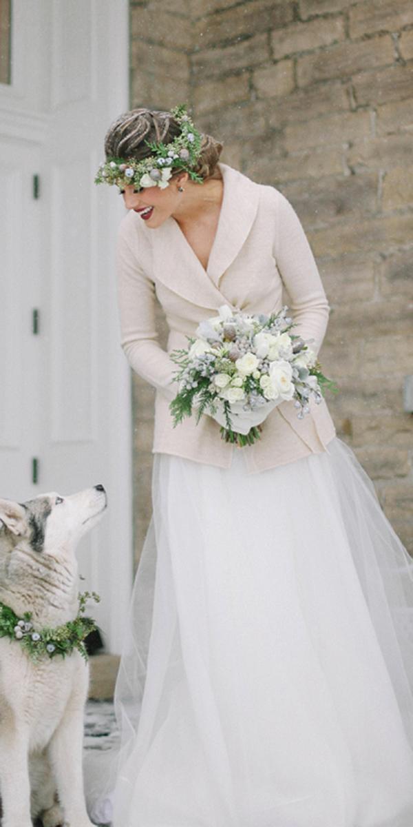 winter wedding dresses wraps tulle skirt simple elizabet hanne designs