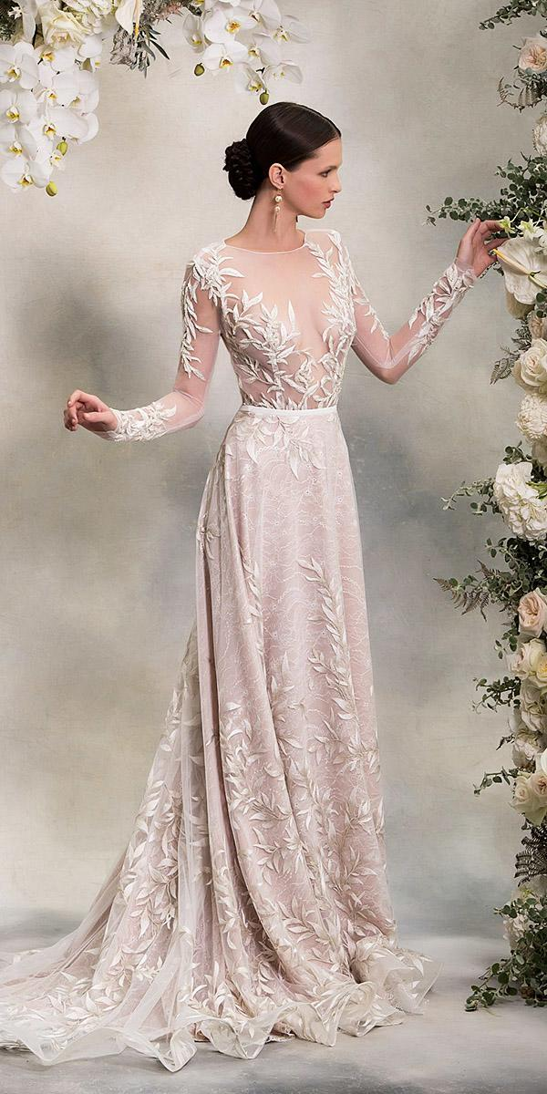 a line floral apliques blush anna georgina illusion long sleeve wedding dresses