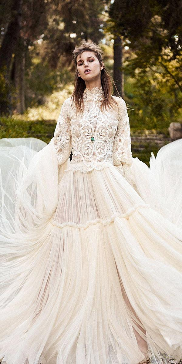 a line high neck with sleeves lace embellishment christos costarellos wedding dresses 2018