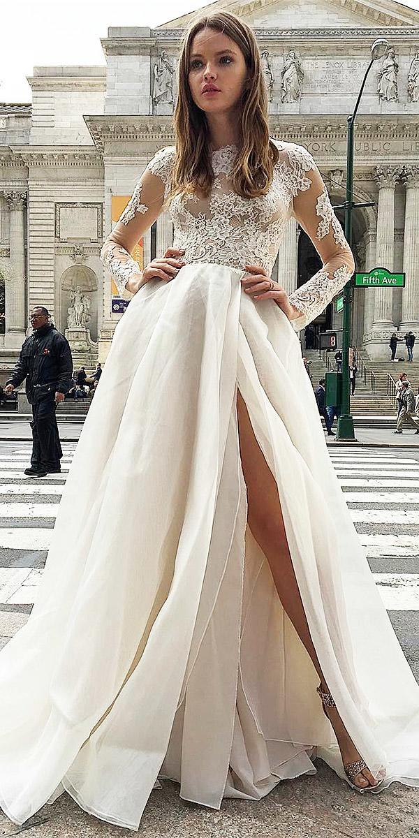 a line lace top romantic monique lhuillier illusion long sleeve wedding dresses