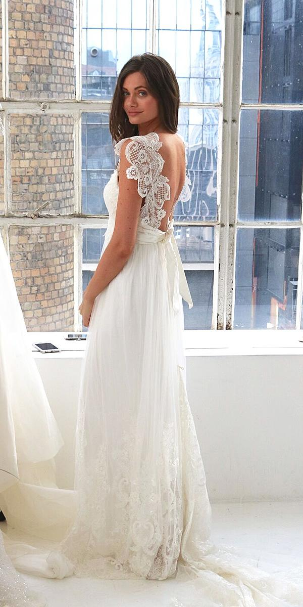 anna campbell wedding dresses 2018 low back with bow long skirt