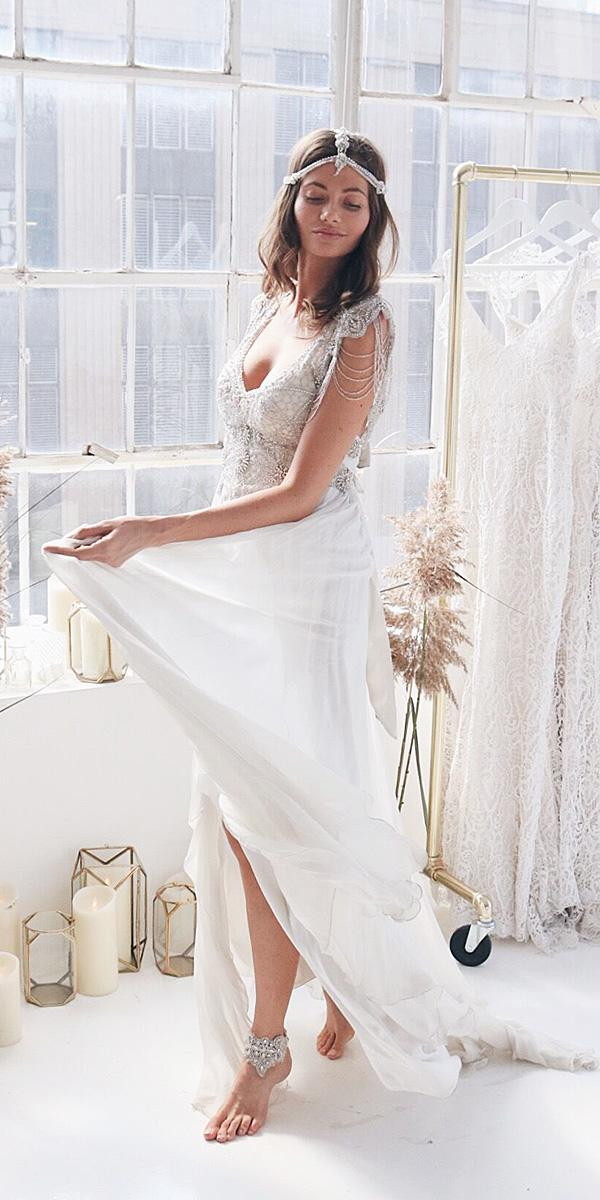 anna campbell wedding dresses 2018 sheath beaded top boho