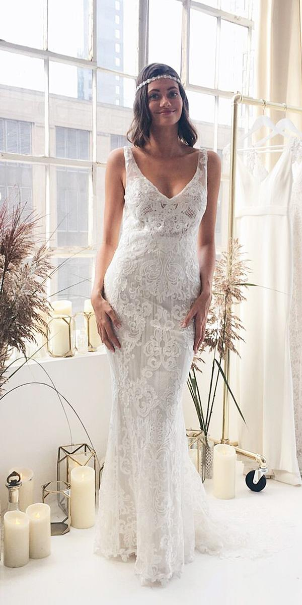 anna campbell wedding dresses 2018 sheath lace embroidered v neckline romantic