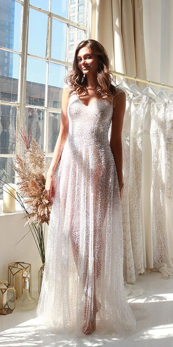 anna campbell wedding dresses 2018 with cap sleeves sequin long romantic