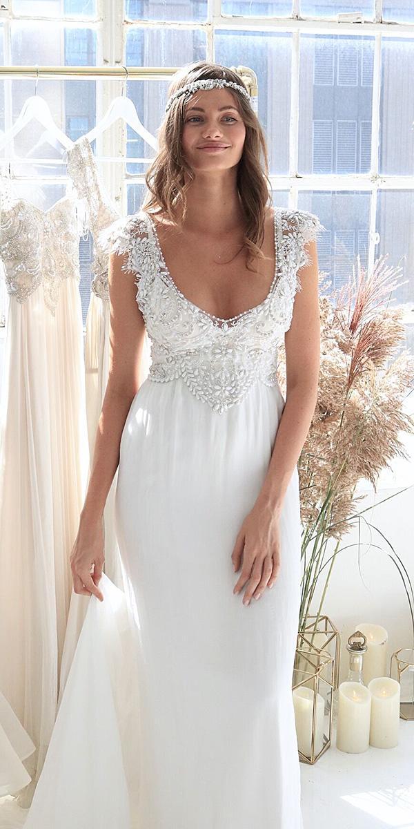 anna campbell wedding dresses 2018 with cap sleeves v neckline beaded long skirt