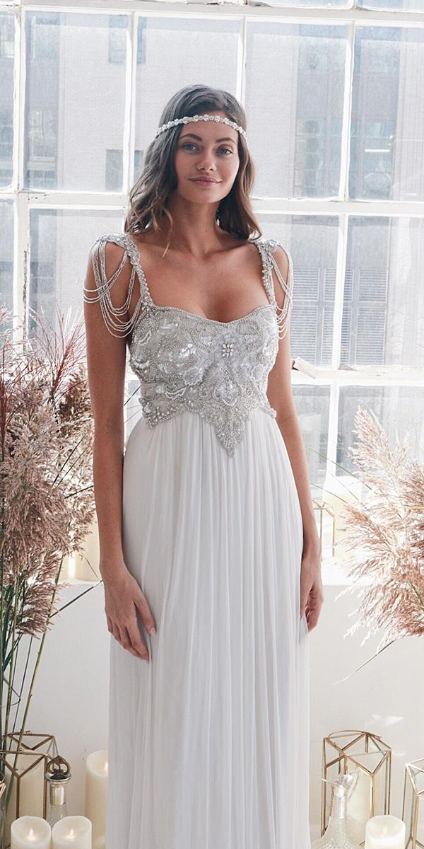 anna campbell wedding dresses 2018 with straps beaded top chiffon vintage