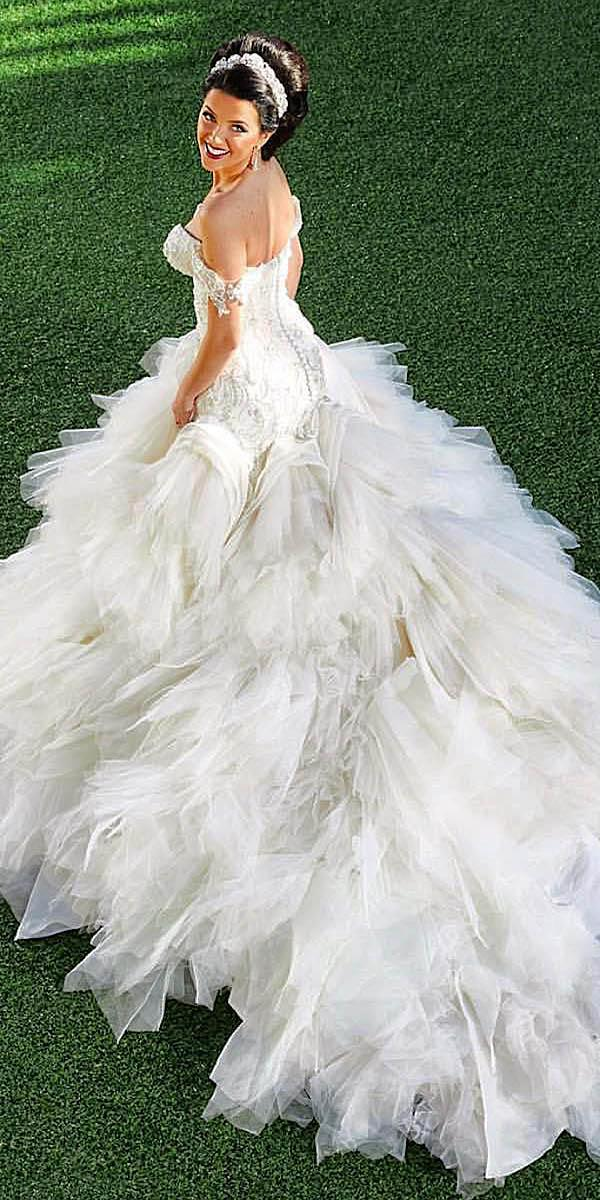 azzaria wedding dresses a line off the shoulder tulle skirt