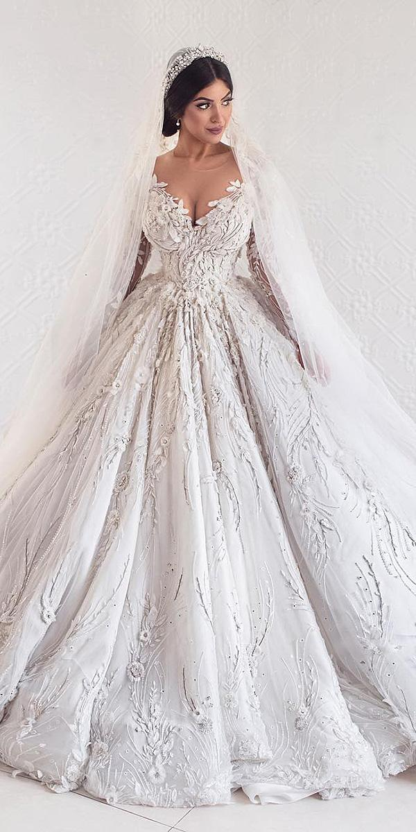 azzaria wedding dresses ball gown sweetheart with sleeves floral appliques