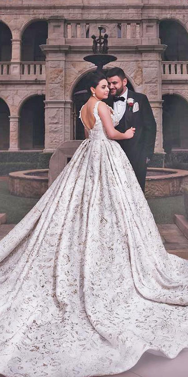 azzaria wedding dresses ball gown v back floral embroidered