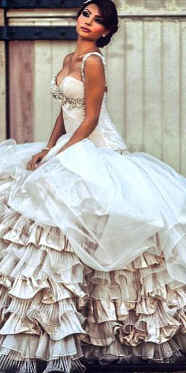 azzaria wedding dresses ball gown with spaghwtti straps ruffled skirt