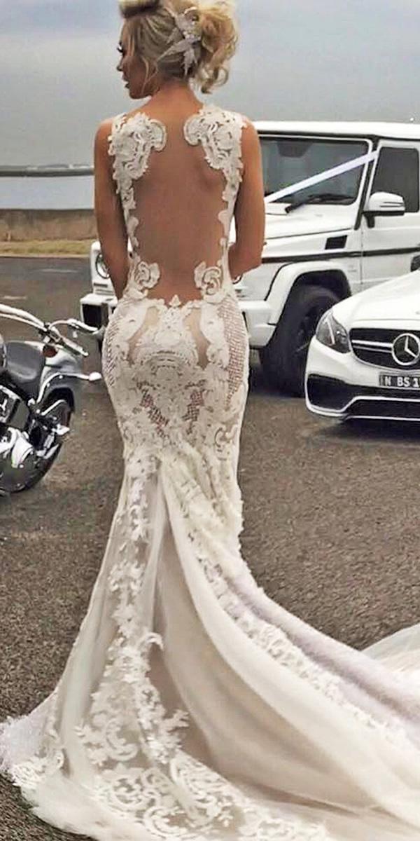 azzaria wedding dresses mermaid illusion lace back lace embellishment