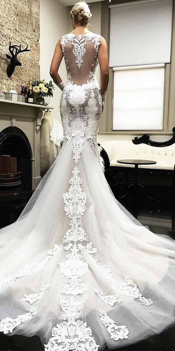 azzaria wedding dresses mermaid illusion back tatto effect with train