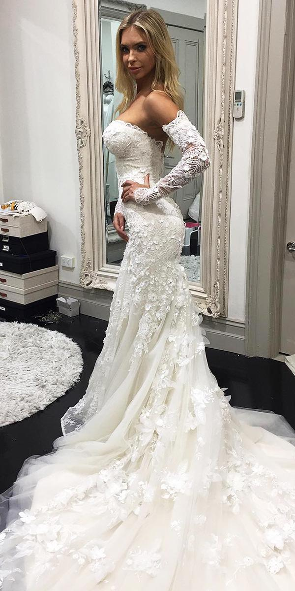 azzaria wedding dresses sheath with sleeves floral appliques lace embroidered