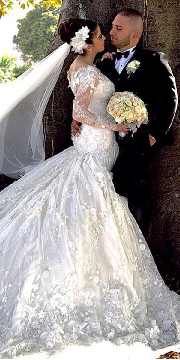 azzaria wedding dresses with sleeves full lace floral appliques