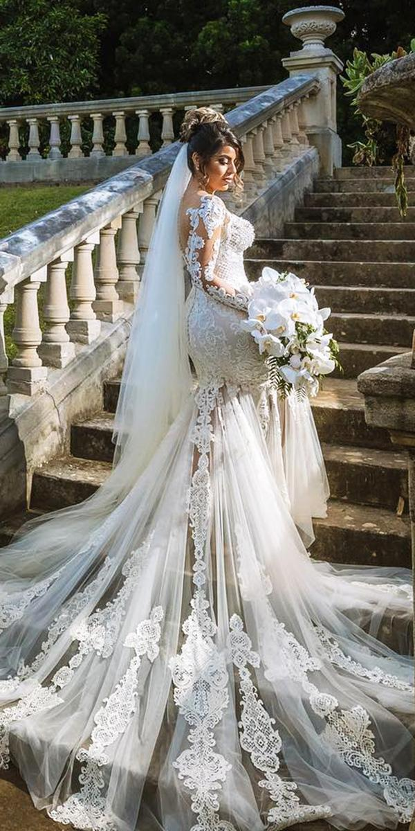 azzaria wedding dresses with sleeves mermaid full lace emroidered