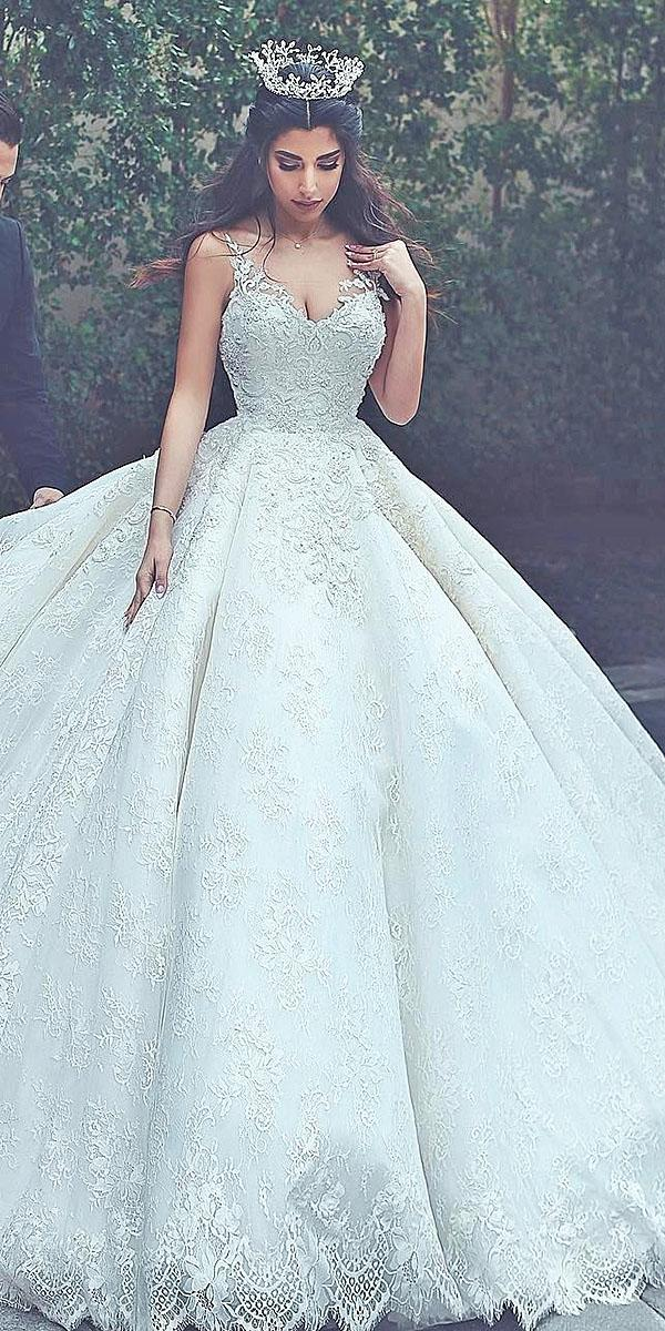ball gown spaghetti straps full lace beaded said mhamad photography top wedding dresses