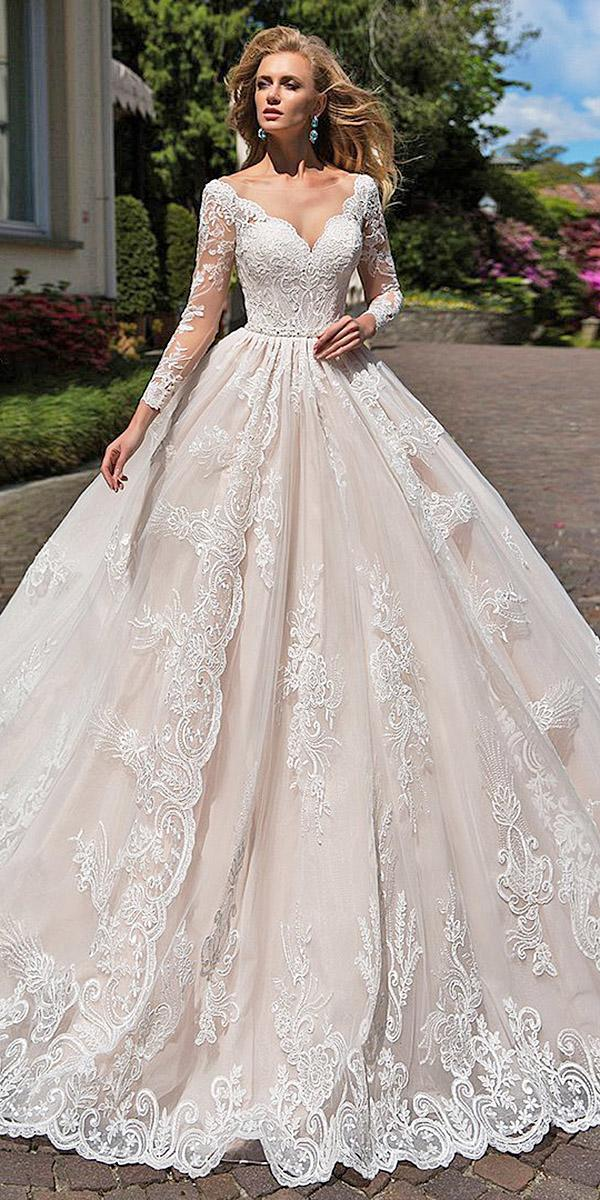 ball gown sweetheart full lace lussano bridal illusion long sleeves wedding dresses