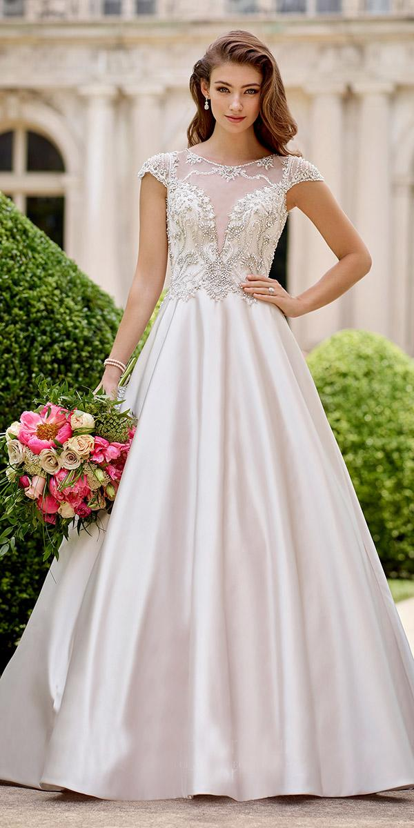 ball gown with cap sleeves beaded top satin 2018 martin thornburg wedding dresses