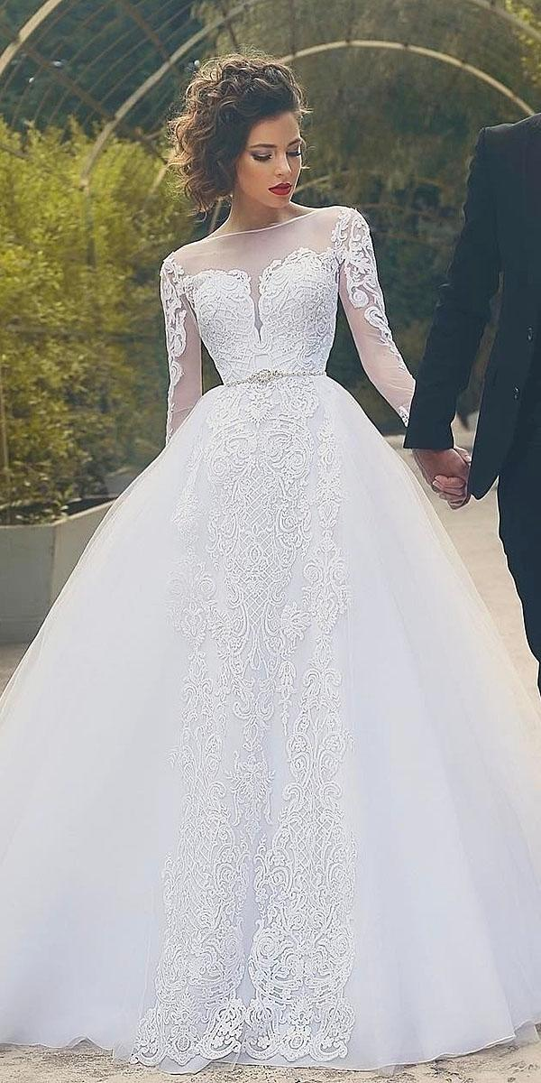 ball gown with sleeves lace embellishment beaded belt said mhamad photography top wedding dresses