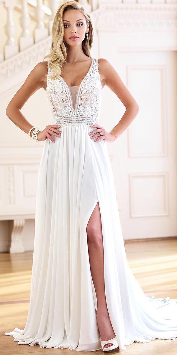 beach destination wedding dresses a line lace top v neckline with slit mon cheri bridals