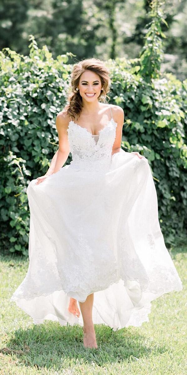 beach destination wedding dresses a line with spaghetti straps lace heidi elnora